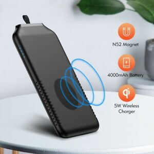Mini Magnetic Wireless Charger Portable Power Bank Ring External 4000mAH Battery