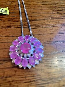 Hot Pink Sapphire Zircon11.4 C Pendant Necklace 20 In Platinum Over Silver 10.4G