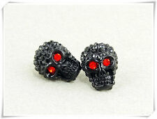 New Elegant Design Skull Stud Earrings w/ Swarovski Crystal Black Siam