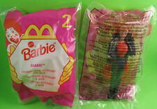 """2 McDonald's Barbie Dolls 1998 Happy Meal Toy #2 Denim with Base 4.5"""" New MIP"""