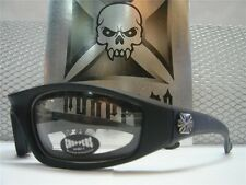 MOTORCYCLE BIKER STYLE DAY RIDING PADDED CHOPPERS Clear Lens GLASSES GOGGLES