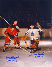 Jean Beliveau and Johnny Bower DUAL SIGNED 11x14 Photo + HOF PSA/DNA AUTOGRAPHED