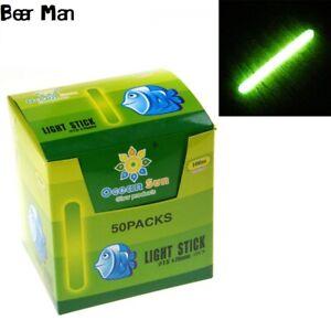 50pcs (50 bags) Night Fishing Light Stick Luminous Float Fluorescent 7.5*75 mm