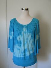 Michael Simon Blue Tie Dye Pleated Banded Waist Knit Blouse Top EUC SZ: XL