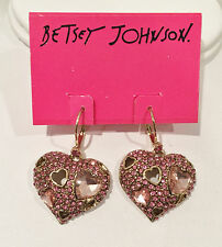 NWT Betsey Johnson Crystal Pinkalicious Pink Pave Heart Drop Earrings