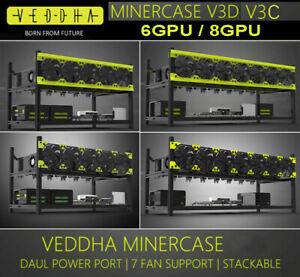 V3C 6 GPU / 8GPU Open Case Mining Rig Frame Miner Aluminum Stackable Equipment