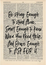 Be strong enough Dictionary Art Print Book page Motivational Inspirational