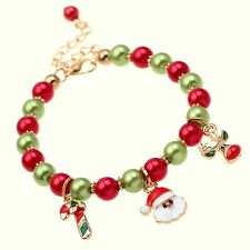 Christmas Xmas Green Red Beaded Bracelet Father Christmas And Little Deer Charms