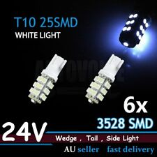6x 24V T10 W5W 25LED Bright WHITE Car Indicator Tail Parking Light Bulbs Truck