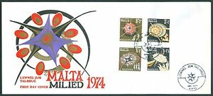Malta 501-504 Weihnachten 1974 als FDC mit Schmuckumschlag