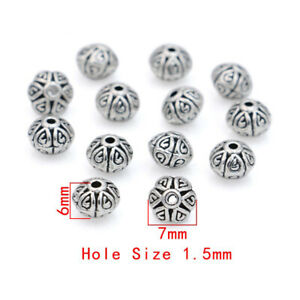 40Ps Silver Plated Oval Round Loose Spacer Beads for Jewelry Making Bracelet DIY