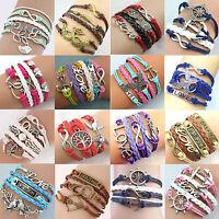 Leather Jewelry fashion Cute Infinity Charm Bracelet  Free Shipping