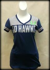 "Junior's Small ""Go Hawks!"" 12th Woman Varsity V-NeckTee shirt for Seahawks fans!"