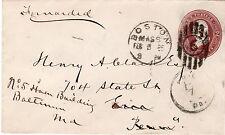 BOSTON TOB FEB 5 1855 to Erie PA Forwarded to Baltimore w/backstamp Baltimore