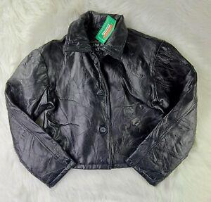 Black Genuine Leather Jacket - Giovanni Navarre Italian Stone Design - Women (M)