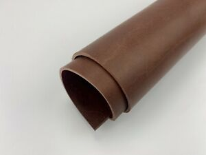 3.5-4mm thick dyed veg tan leather craft - tan brown & select size-