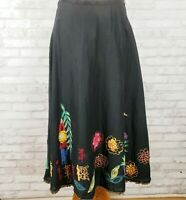 Chicos womens skirt black cotton embroidered appliqued w/ beaded hem Sz Small
