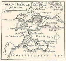 A7771 Toulon Harbour - Mappa d'epoca - 1904 vintage map
