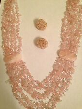 Set! Pink -Color Of the Year! Artisan Rose Quartz Necklace + Earrings Beautiful