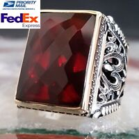 FLASHY Ruby Turkish 925 Sterling Silver red stone Mens Man ring ALL SİZE us
