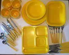 Lot 43 Piece, Vintage Yellow Plastic Dinner Wear, Texas Wear, Dallas Wear