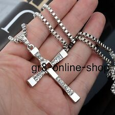 Unisex Men Diamond Stainless Steel Cross Pendant Necklace Chain Silver/Gold Gift