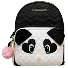 NWT Betsey Johnson Fuzzy Panda Bear Kitsch Large Backpack + Pom-Pom Bag Charm