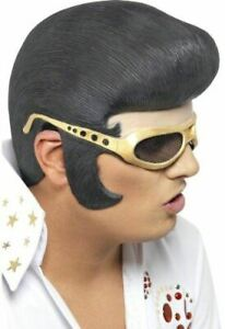 Adult Elvis Headpiece Wig and Gold Shades Fancy Dress Party Accessory