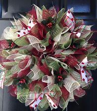 Christmas Wreath Holiday Maroon Creme Green Holly Ribbon Deco Mesh