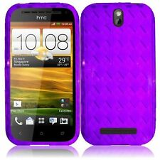 For HTC One SV TPU CANDY Flexi Gel Skin Case Phone Cover Purple Plaid