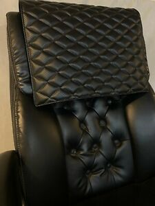 BLACK CARBON quilted recliner sofa chair love seat headrest arm rest leather