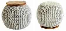 Premier Housewares Enfused Pouffe Ludwig Natural Wool and Mango Wood Top