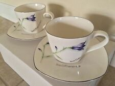 ☀️NEW Imperial Fine Bone China Tea Gift Set Cup & Saucer Bellflower Korea 4-Pcs