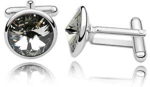Stunning Black Diamond Swarovski Elements Circular Cufflinks by CUFFLINKS DIRECT