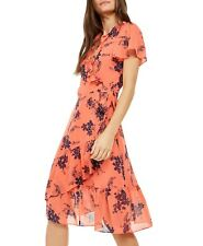 NWT $175 MICHAEL Michael Kors Printed Wrap Dress Coral Peach color size S/4/6