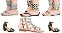 Cape Robin Women's Open Toe Oversize Rhinestone Crystal Ankle Strap Med Low Heel