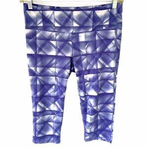 Athleta Large Leggings Knicker Capri Purple White Geometric Print Exercise