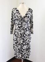 Lauren Ralph Lauren Black White Floral Ruched Wiggle Dress Size 12 Career V-Neck