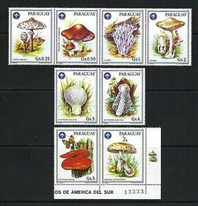 Paraguay 1986 Sc#2166a-f,#2167  Mushrooms/Scouting Emblem   MNH Set/Label $8.50