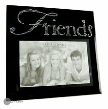 Black Glass and Crystals Friends Photo Frame Gift FG492FR