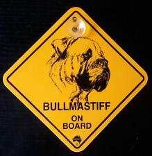 12cm Roadsign Schild mit Saugnapf  Bull Mastif   Warnschild Hund