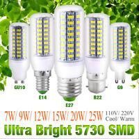 Bright 5730 LED Corn Bulb Home Light Warm Cool White Lamp E27 B22 GU10 G9 E12 F