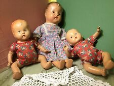 Primative VINTAGE COMPOSITION BABY DOLLS LOT OF 3