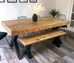 """Reclaimed Wood Dining Table and Bench. Industrial Chunky Metal X Legs """"Althorp"""""""