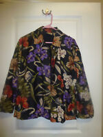 Chico's Design Women's Silk  Floral  Beaded Jacket Size 1