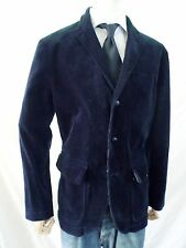 POLO RALPH LAUREN blue wide wale corduroy leather Norfolk blazer jacket 42R