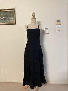 Dazie Black Reminiscent Cotton Maxi Tiered Sun Dress Size 6-8