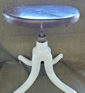 RARE VTG Antique Doctor Exam Stool Cast Iron Enamel Wood Casters Seat Adjustable