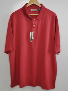 Cubavera Size 2X Polo Shirt Men's Red Striped Short Sleeve Casual New