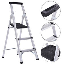 Non-slip 3 Step Ladder Aluminum Folding Work Stool Platform 330Lbs Load Capacity